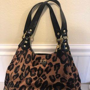 Used leopard coach bag